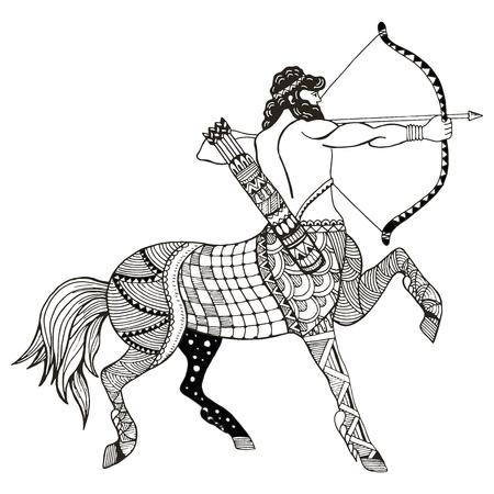 Ejemplo del vector del signo del zodiaco de Sagitario, zentangle estilizado, lápiz a mano alzada, dibujado a mano, modelo, muestra del horóscopo, el arquero.