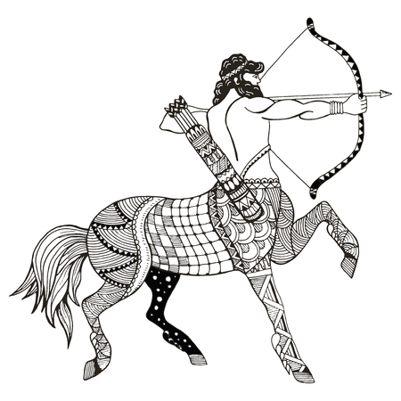 Sagittarius zodiac sign vector illustration, zentangle stylized, freehand pencil, hand drawn, pattern, horoscope sign, the archer. Illusztráció