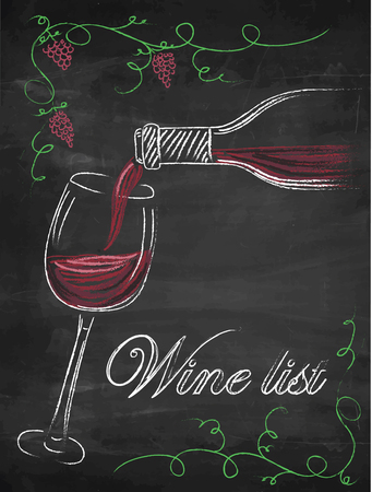 Wine list with wine glass and wine bottle on chalkboard background. 矢量图像