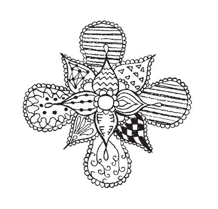Zentangle stylized, flower, leafs, vector illustration, artistically drawn, freehand. Print for coloring books.