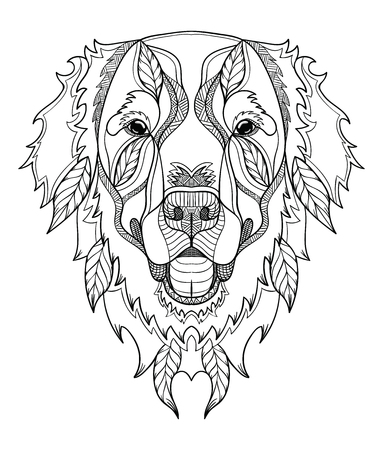Golden retriever dog zentangle, doodle stylized head, hand drawn, pattern. Zen art. Ornate vector. Black and white illustration on white background. Print for t-shirts and coloring books.