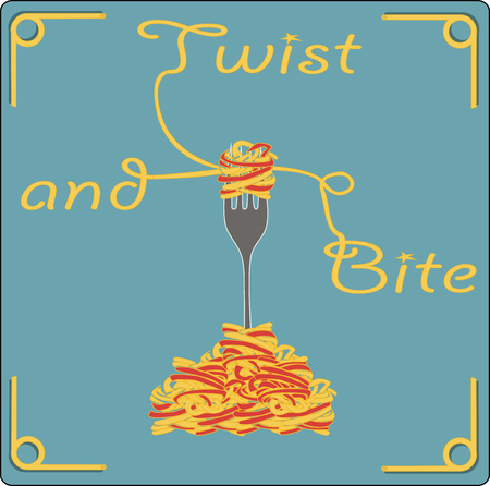 Fork with spaghetti on blue background with words twist and bite, vector, illustration. Print for posters.