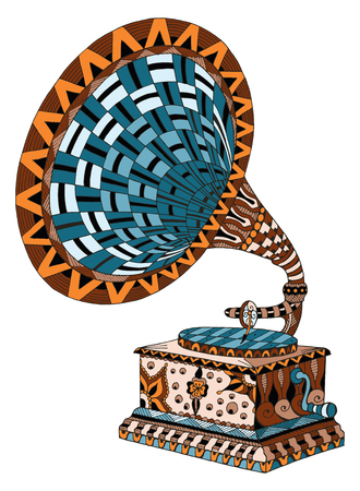 Gramophone. Zentangle stylized. Pattern. Vector illustration. Freehand pencil. Hand drawn. Color. Print for t-shirts and posters.