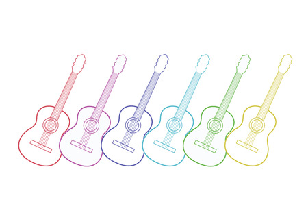 Guitars white silhouette with color outlines. Vector illustration. Print for posters.
