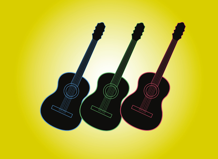 Guitars silhouette with color outlines. Vector illustration. Print for posters.