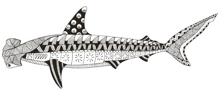 Hammerhead shark zentangle stylized, vector, illustration, pattern, freehand pencil, hand drawn. Zen art. Print for coloring books and t-shirts.