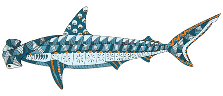 Hammerhead shark zentangle stylized, vector, illustration, pattern, freehand pencil, hand drawn. Print for t-shirts.
