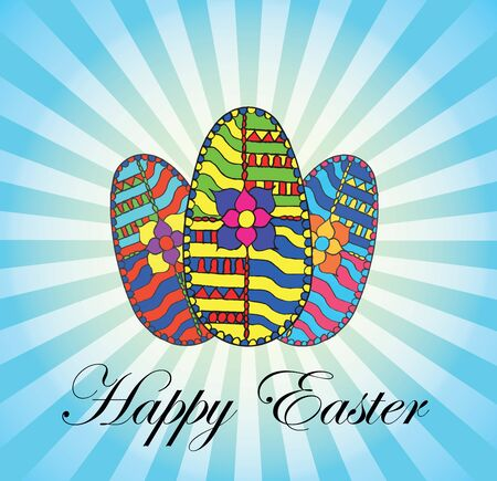 Happy easter card vector illustration. Decoration on eggs. Vector illustration. Print for greetings cards.