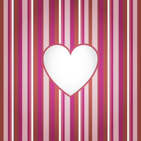Heart on red stripes background. Vector illustration. Print for decoration. 矢量图像