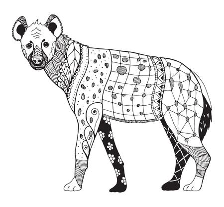 Hyena zentangle stylized, vector, illustration, freehand pencil, hand drawn, zen art, pattern. Ornate vector. Print for t-shirts.