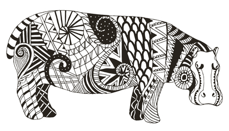 Hippo zentangle stylized, vector, illustration, freehand pencil. Pattern. Zen art. Print for coloring books and t-shirts.