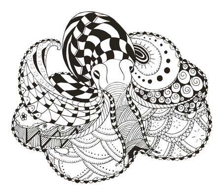 Octopus zentangle stylized, vector, illustration, freehand pencil, hand drawn, pattern. Zen art. Print for coloring books and t-shirts.