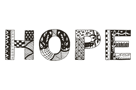 Word hope zentangle stylized, vector, illustration, freehand pencil, pattern. Zen art. Print for coloring books and t-shirts. 矢量图像