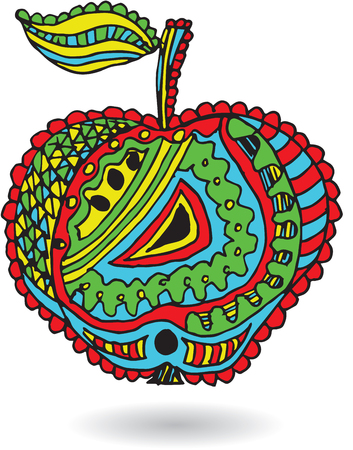 Artistically drawn, zentangle stylized apple vector illustration. Print for t-shirts.
