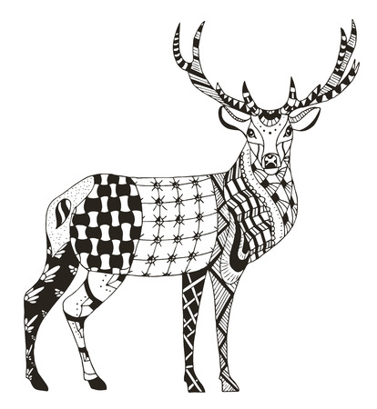 Artistically hand drawn, zentangle stylized deer vector, illustration, pattern, freehand pencil, lace. Zen art. Print for coloring books and t-shirts.