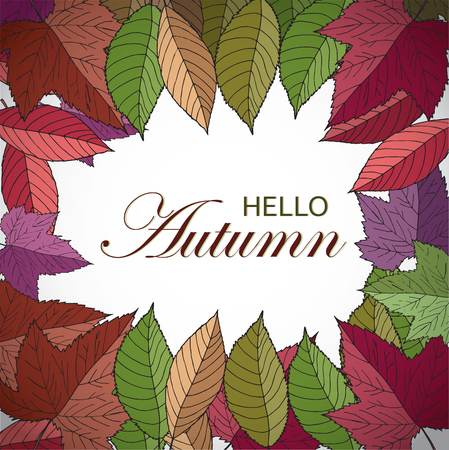Autumn square frame with hand drawn leaves. Hello autumn banner. Vector fall design for advertisement, greeting cards and social media content. Freehand pencil.