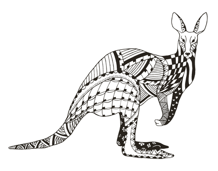Kangaroo zentangle stylized, vector, illustration, freehand pencil. Pattern. Zen art. Print for coloring books and t-shirts.
