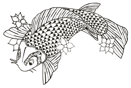Zentangle stylized koi fish, vector, illustration, freehand pencil. Pattern. Zen art. Print for coloring books and t-shirts.
