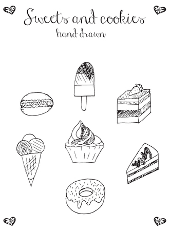 Sweets and cookies icons, cupcake, macaron, ice cream, cheesecake, cake, donut, vector, illustration, freehand pencil. Print for poster. 矢量图像