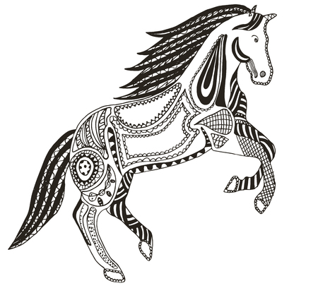 Zentangle stylized horse, swirl, illustration, vector, freehand pencil. Pattern, Zen art. Print for coloring books and t-shirts.
