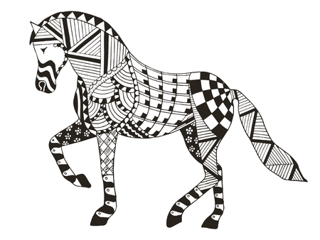 Horse zentangle stylized, vector, illustration, freehand pencil. Pattern. Zen art. Print for coloring books and t-shirts. 矢量图像
