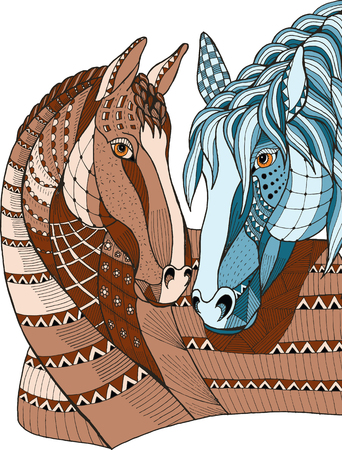 Two horses showing affection, zentangle stylized, vector illustration, freehand pencil, hand drawn, pattern, love. Print for t-shirts. 矢量图像