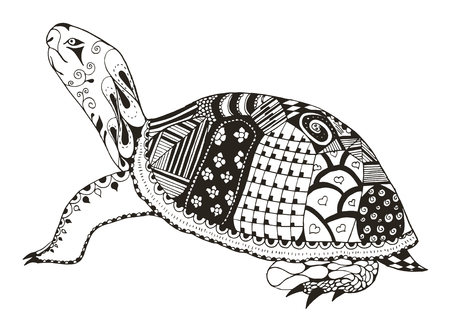 Turtle zentangle stylized. vector, illustration, freehand pencil. Pattern. Zen art. Print for coloring books and t-shirts.