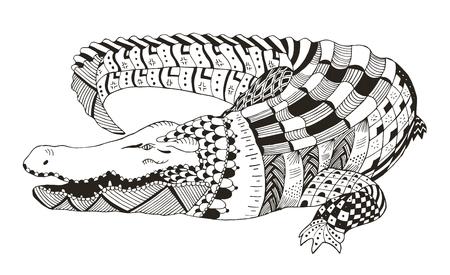 Crocodile zentangle stylized, vector, illustration, pattern, freehand pencil, hand drawn. Zen art. Print for t-shirts.