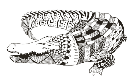 Crocodile zentangle stylized, vector, illustration, pattern, freehand pencil, hand drawn. Zen art. Print for t-shirts.