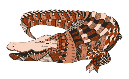 Crocodile zentangle stylized, vector, illustration, pattern, freehand pencil, hand drawn. Print for posters.