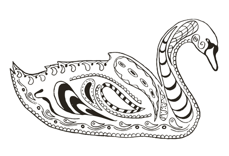 Swan zentangle stylized, illustration, vector, freehand pencil. Pattern. Coloring book. Print for t-shirts. 矢量图像