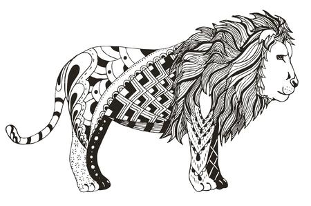 Lion zentangle stylized, vector, illustration, freehand pencil. Zen art. Pattern. Ornate vector. Print for t-shirts.