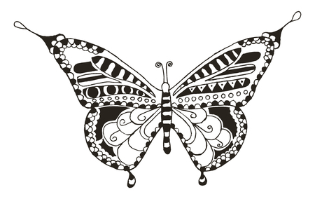 Butterfly zentangle stylized, vector, illustration, freehand pencil, hand drawn, pattern. Print for t-shirts, mobile cover design.