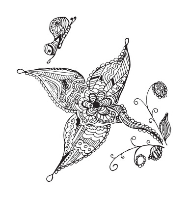 Zentangle stylized butterfly, flower, leafs, vector illustration, artistically drawn. Zen art. Print for books and t-shirts.