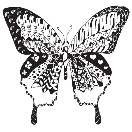 Artistically hand drawn, zentangle stylized butterfly vector, illustration, freehand pencil. Zen art. Print for t-shirts.
