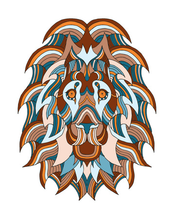 Lion head stylized, vector, illustration, freehand pencil, hand drawn, pattern. Print for t-shirts, mobile cover design.