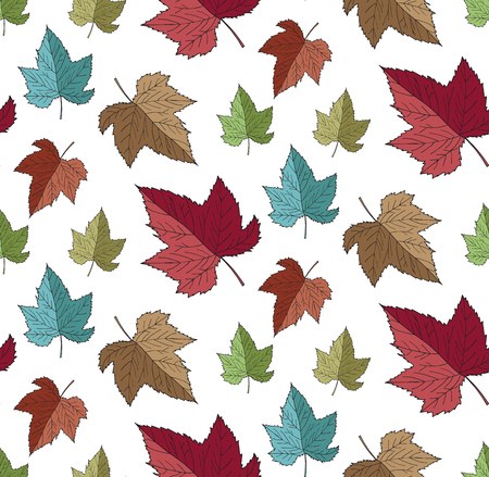Seamless pattern autumn leaves. Vector illustration. Freehand pencil. Hand drawn. Background. Print for decoration.