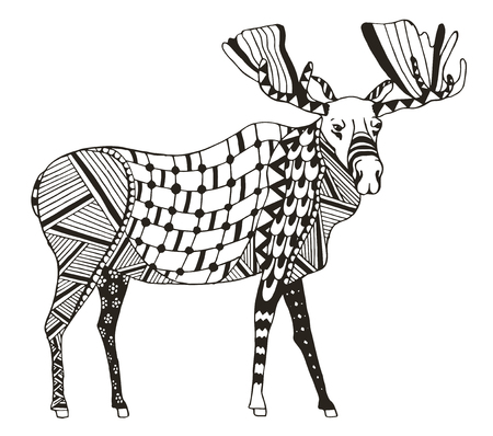 Moose stylized, vector, illustration, freehand pencil. Pattern. Print for coloring books.