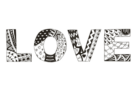 Word love stylized on white background, vector, illustration, yellow, freehand pencil. Print for coloring books. 矢量图像