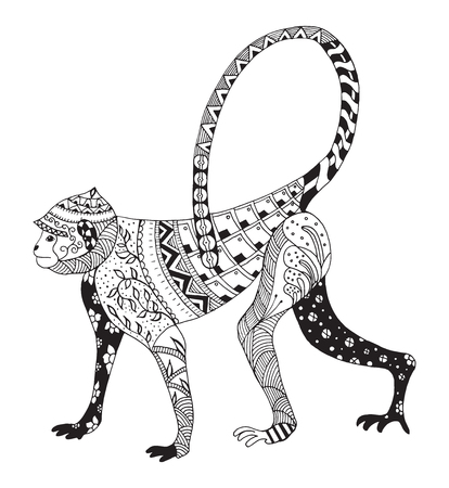 Stylized monkey, chinese zodiac, vector, illustration, freehand pencil, hand drawn, pattern.  Ornate vector.