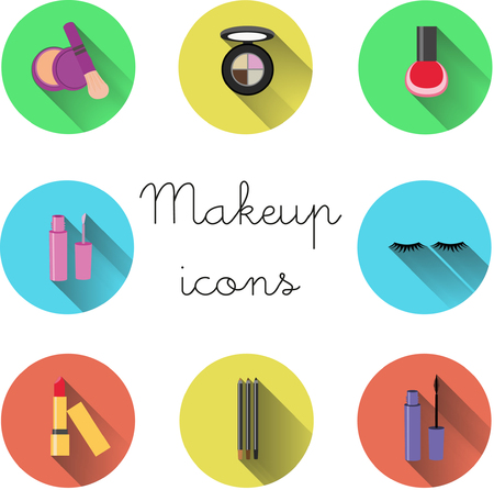Makeup icons flat design, beauty icons. Print for brochures. 矢量图像