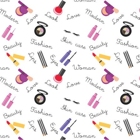 Makeup icons flat design, pattern. Print for brochures.