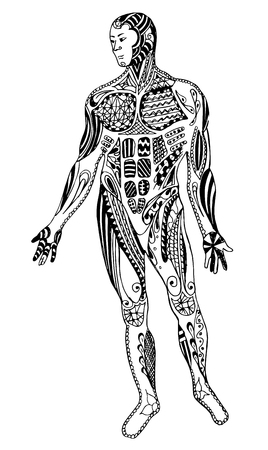 Muscle man, freehand pencil, vector, illustration, pattern. Print for t-shirts and coloring books. 矢量图像