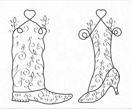 Man and woman swirl shoe, heart, wedding, vector, illustration. Pattern. Print for wedding cards. Wedding card design.