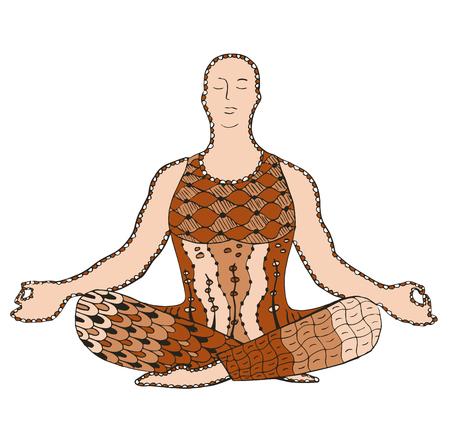 Man meditating stylized, vector, illustration, freehand pencil, pattern. Print for t-shirts. 矢量图像