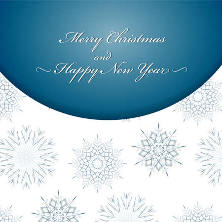 Merry Christmas and Happy New Year text label on a winter background with snow and snowflakes. 矢量图像