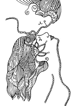 Man kissing woman's forehead, flower, leafs, vector illustration, artistically drawn, freehand. Print for t-shirts.