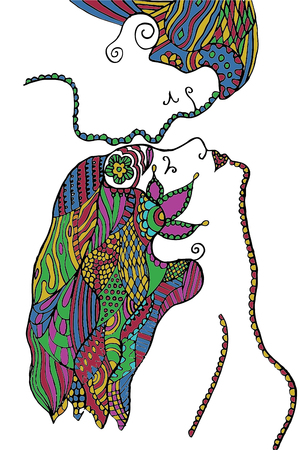 Man kissing womans forehead, flower, leafs, vector illustration, artistically drawn, freehand pencil. Print for t-shirts.