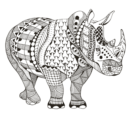 Rhino doodle stylized, vector illustration, freehand pencil, doodle, black and white, pattern, hand drawn.