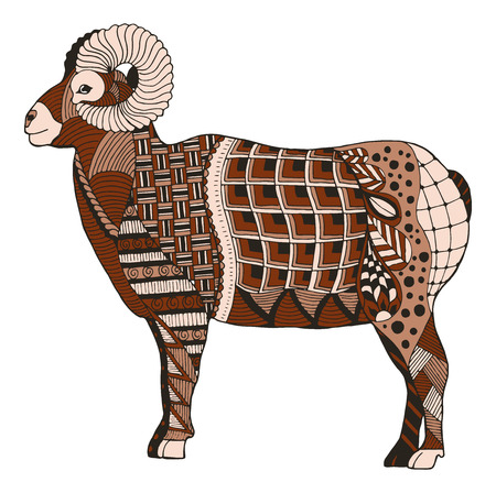 Male rocky mountain bighorn sheep ram standing stylized, vector illustration, freehand pencil, hand drawn, pattern.